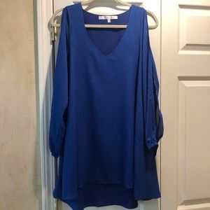 Lovers + Friends Blue Dress with Open Sleeves